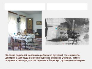 Желание родителей направить ребенка по духовной стезе привело Дмитрия в 1866