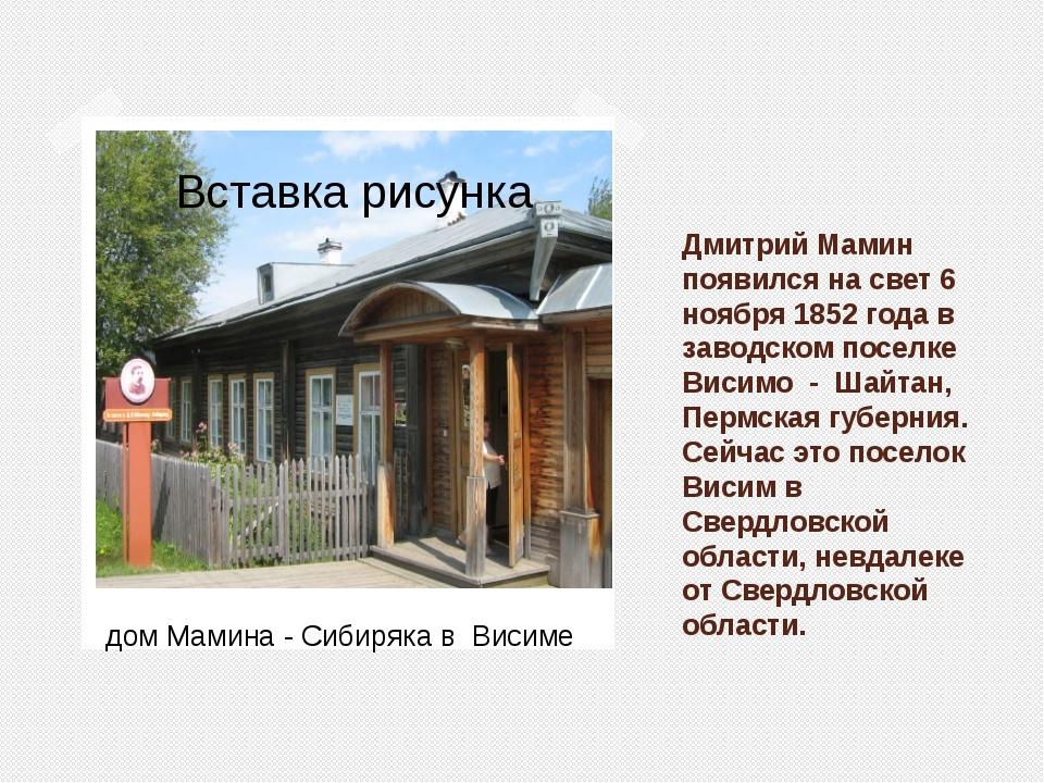 Дмитрий Мамин появился на свет 6 ноября 1852 года в заводском поселке Висимо...
