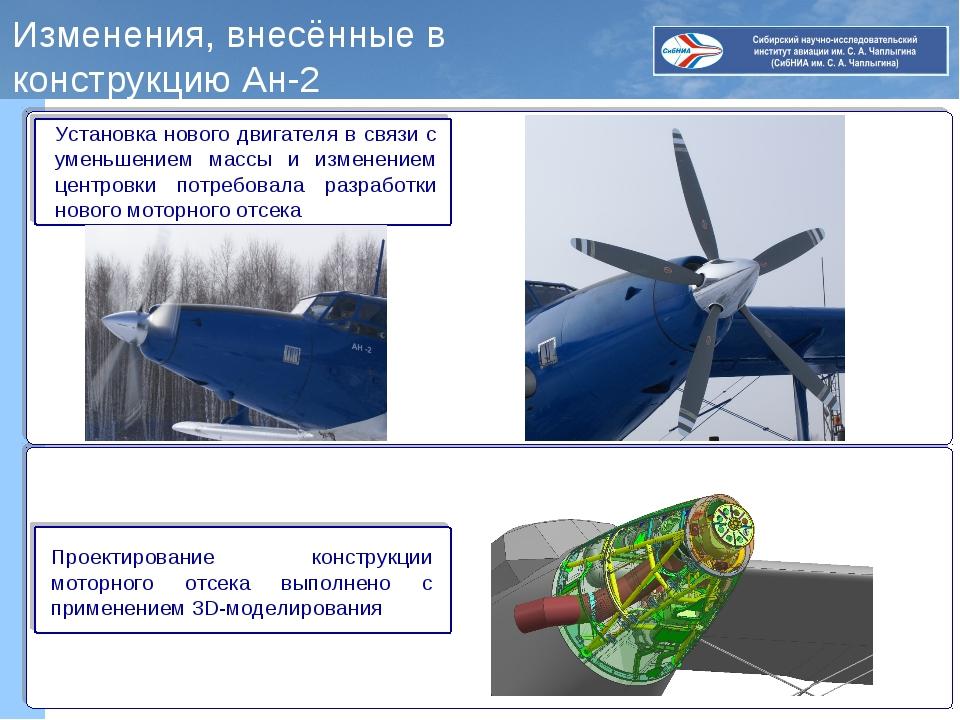 Изменения, внесённые в конструкцию Ан-2 Установка нового двигателя в связи с...