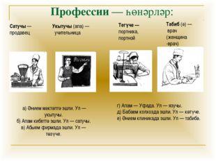 Профессии — һөнәрләр: Сатучы — продавец Укытучы (апа) — учительница Тегүче —