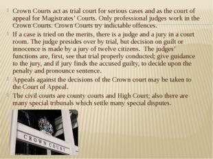 Crown Courts act as trial court for serious cases and as the court of appeal