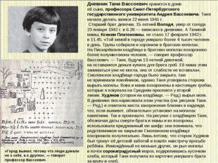 Дневник Тани Вассоевич хранится вдоме еёсына,профессора Санкт-Петербургск