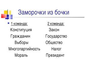 Заморочки из бочки 1 команда: 2 команда: Конституция Закон Гражданин Государс