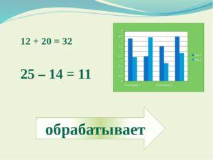 12 + 20 = 32 25 – 14 = 11 обрабатывает