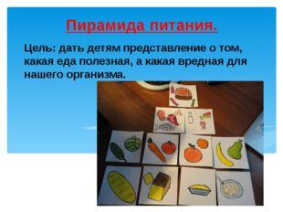 Цель: дать детям представление о том, какая еда полезная, а какая вредная для
