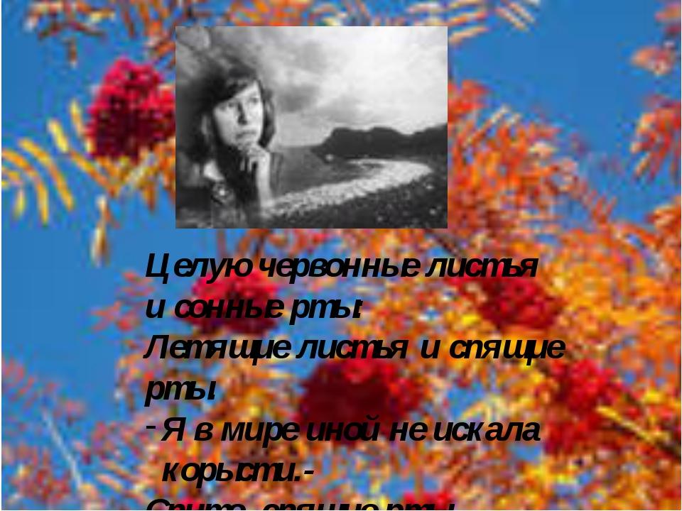 Целую червонные листья и сонные рты: Летящие листья и спящие рты. Я в мире ин...