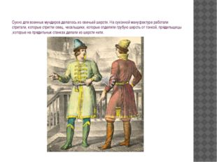 Сукно для военных мундиров делалось из овечьей шерсти. На суконной мануфактур