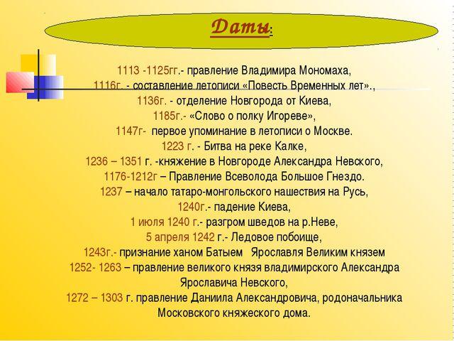 Даты: 1113 -1125гг.- правление Владимира Мономаха, 1116г. - составление лето...