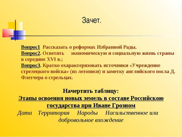 Вопрос1 Рассказать о реформах Избранной Рады. Вопрос2. Осветить экономическую...