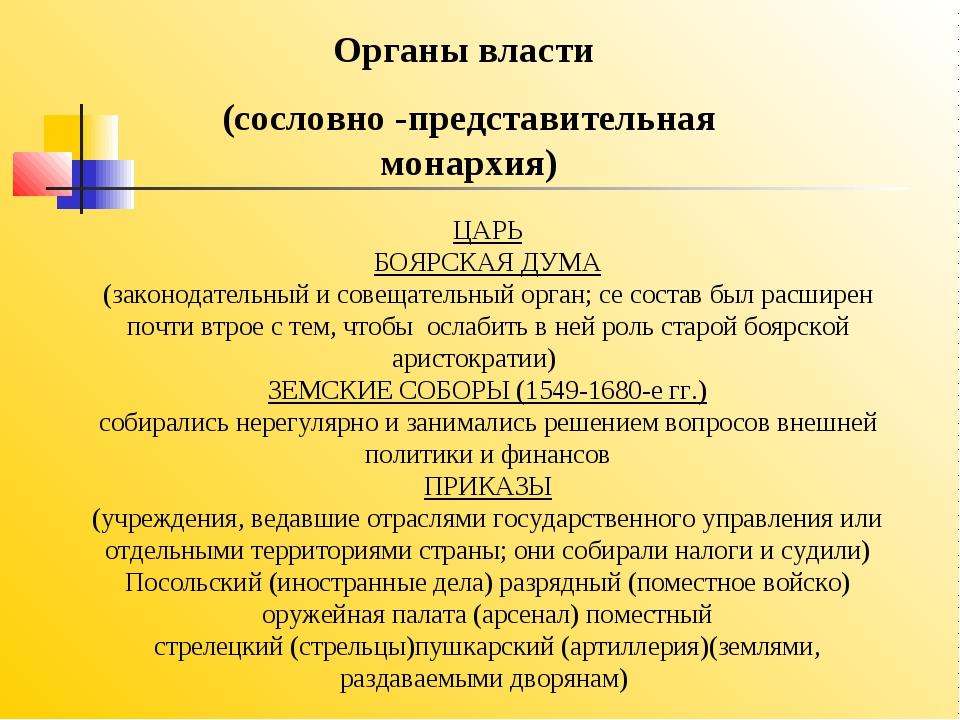 ЦАРЬ БОЯРСКАЯ ДУМА (законодательный и совещательный орган; се состав был рас...