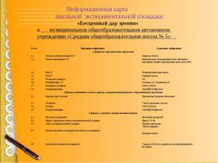 Информационная карта школьной экспериментальной площадки  «Бесценный дар зр