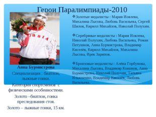 Герои Паралимпиады-2010 Анна Бурмистрова Специализация : биатлон, лыжные гонк