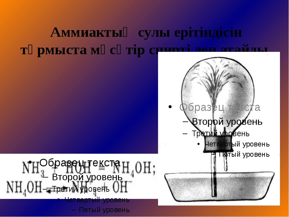 Аммиактың қышқылдармен әрекеттесуі