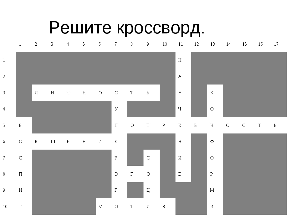 Решите кроссворд. 1 2 3 4 5 6 7 8 9 10 11 12 13 14 15 16 17...