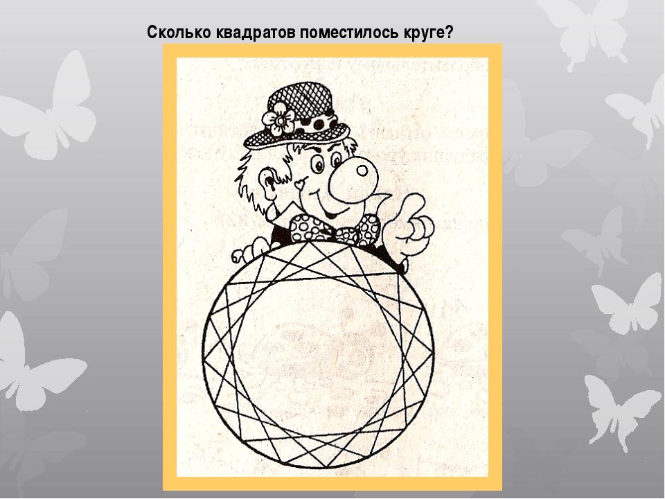 Сколько квадратов поместилось круге?