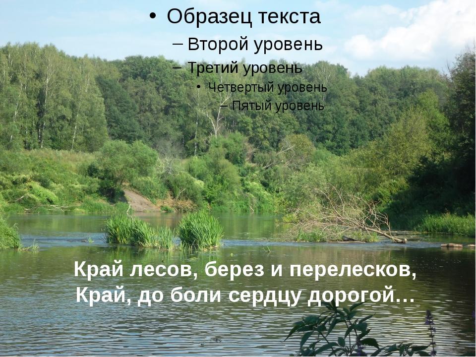Край лесов, берез и перелесков, Край, до боли сердцу дорогой…