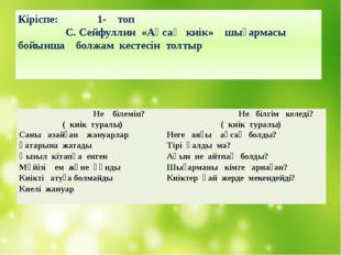 Кіріспе: 1- топ С. Сейфуллин «Ақсақ киік» шығармасы бойынша болжам кестесін т