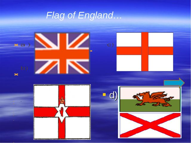 d) Flag of England…