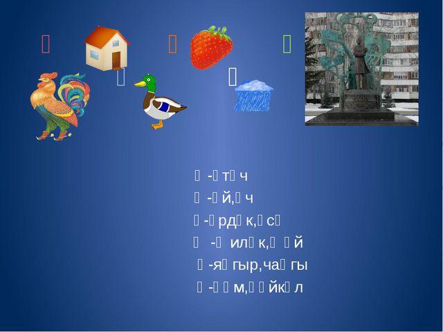 Ә Ү ң Ө Җ Һ Ә-әтәч Ө-өй,өч Ү-үрдәк,үсә Җ-җиләк,җәй ң-яңгыр,чаңгы Һ-һәм,һәйкәл