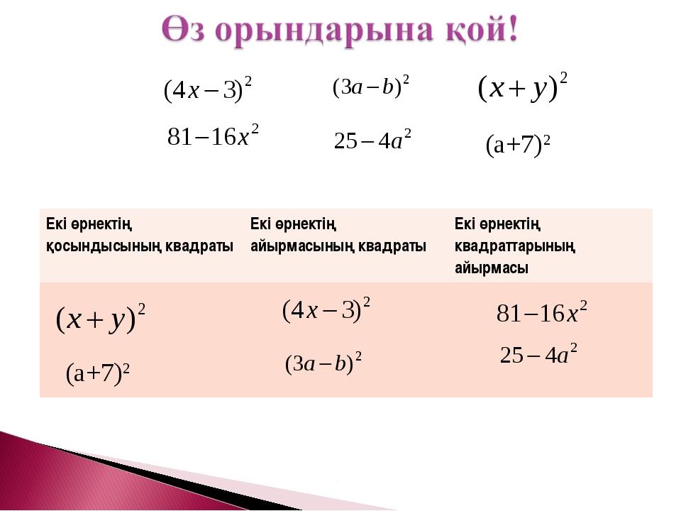 (а+7)2 (а+7)2 Екі өрнектің қосындысының квадратыЕкі өрнектің айырмасының ква...