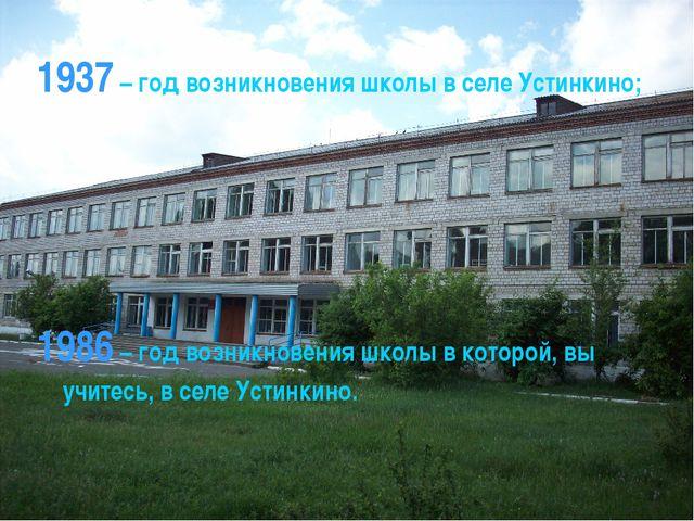 1937 – год возникновения школы в селе Устинкино; 1986 – год возникновения шко...