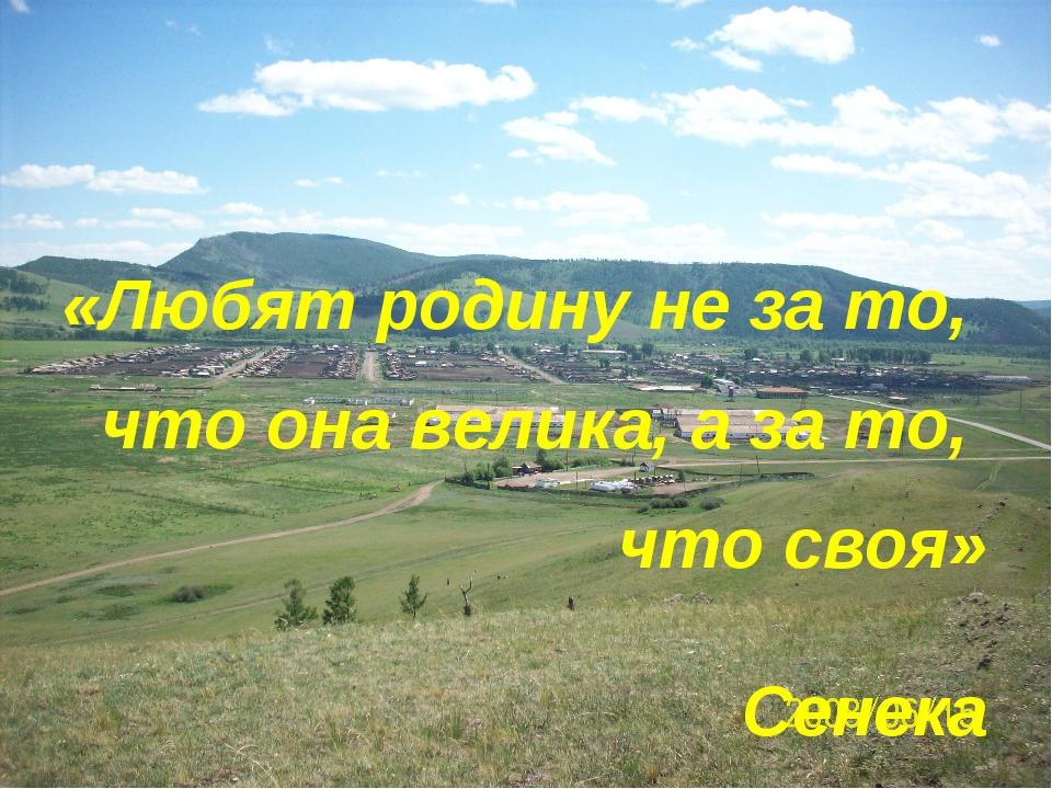 «Любят родину не за то, что она велика, а за то, что своя» Сенека