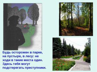 Будь осторожен в парке, на пустыре, в лесу: не ходи в такие места один. Здесь