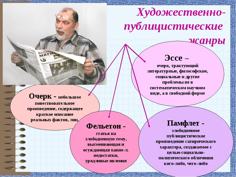 Художественно- публицистические жанры Очерк - небольшое повествовательное про...