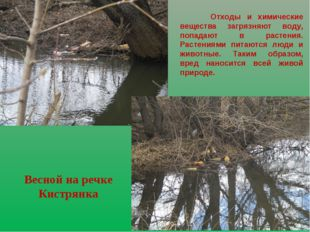 Весной на речке Кистрянка Отходы и химические вещества загрязняют воду, попад
