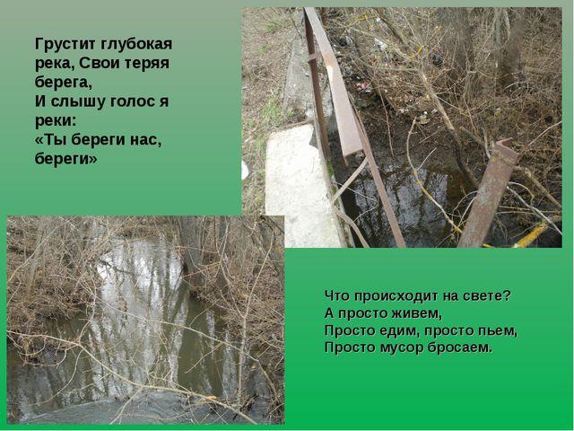 Грустит глубокая река, Свои теряя берега, И слышу голос я реки: «Ты береги на...