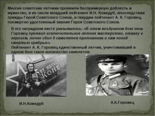 Многие советские летчики проявили беспримерную доблесть и мужество, в их числ