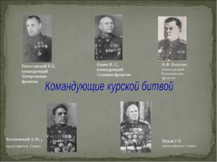 Василевский А.М., представитель Ставки Рокоссовский К.К., командующий Централ