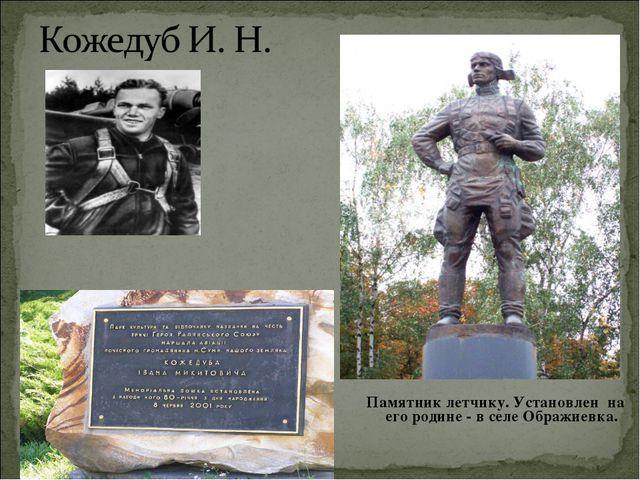 Памятник летчику. Установлен на его родине - в селе Ображиевка.
