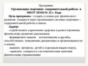 Программа Организация спортивно- оздоровительной работы в МБОУ НОШ № 25 с. Ба