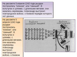 """На рассвете 5 апреля 1242 года рыцари построились """"клином"""", или """"свиньей"""". В"""