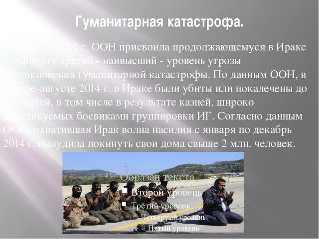 Гуманитарная катастрофа. 15 августа 2014 г. ООН присвоила продолжающемуся в И...