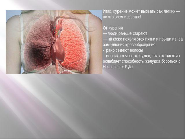 Итак, курение может вызвать рак легких — но это всем известно! От курения —...