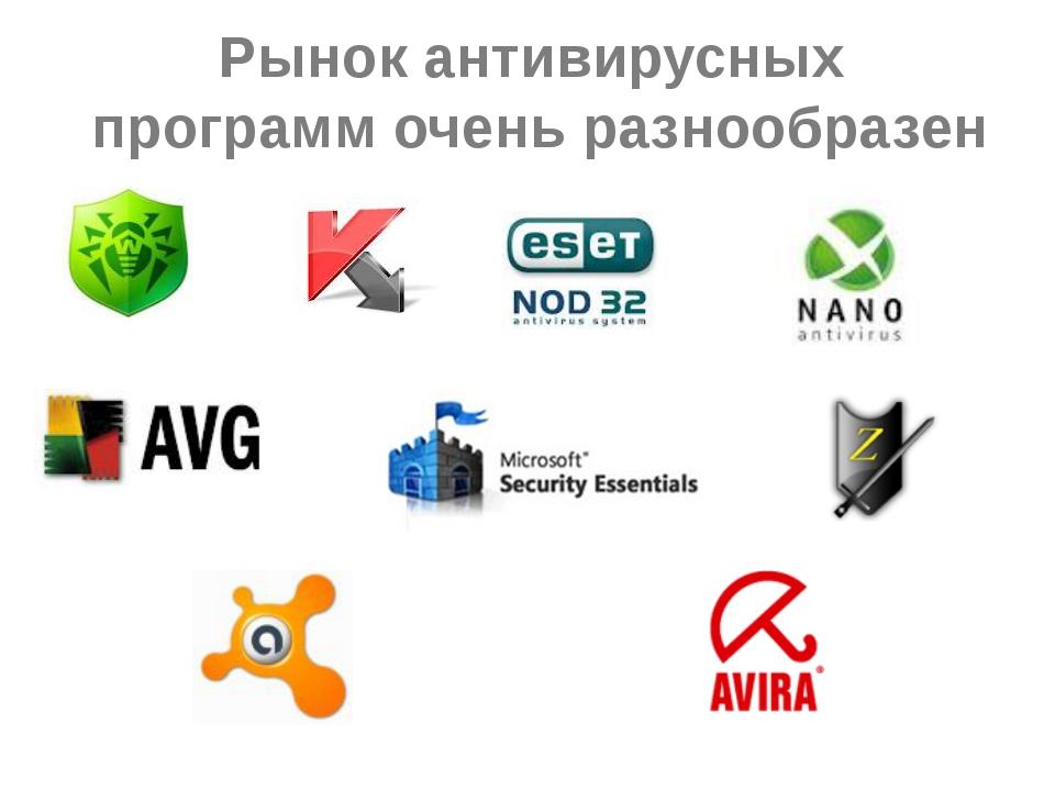 Рынок антивирусных программ очень разнообразен