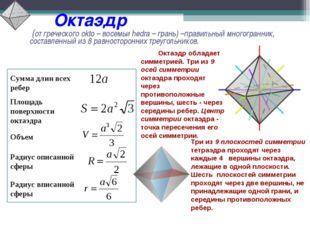 Октаэдр (от греческого okto – восемьи hedra – грань) –правильный многогранни