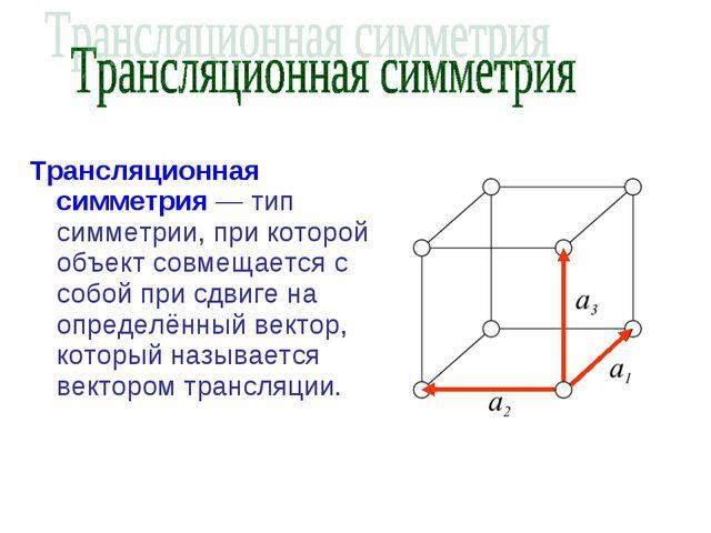 Трансляционная симметрия — тип симметрии, при которой объект совмещается с со...