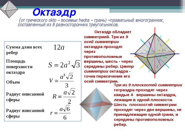 Октаэдр (от греческого okto – восемьи hedra – грань) –правильный многогранни...