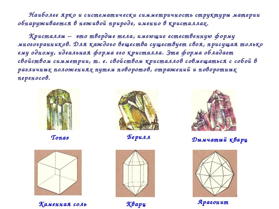 Наиболее ярко и систематически симметричность структуры материи обнаруживаетс...