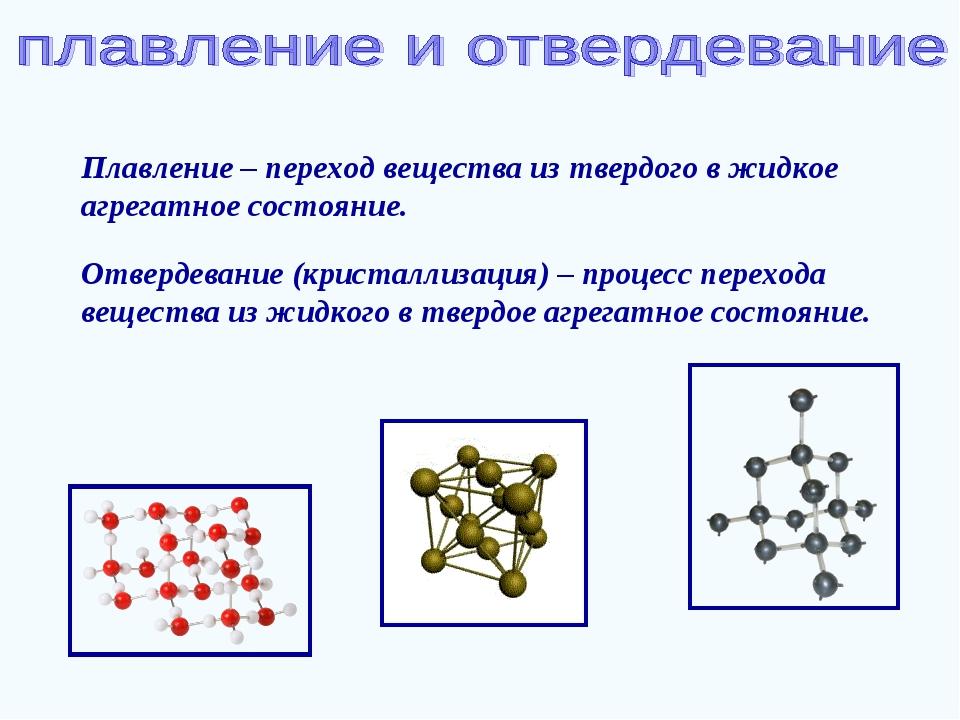 Плавление – переход вещества из твердого в жидкое агрегатное состояние. Отвер...