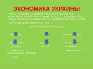 ЭКОНОМИКА УКРАИНЫ Украина – индустриально-аграрная страна. В структуре ВВП до
