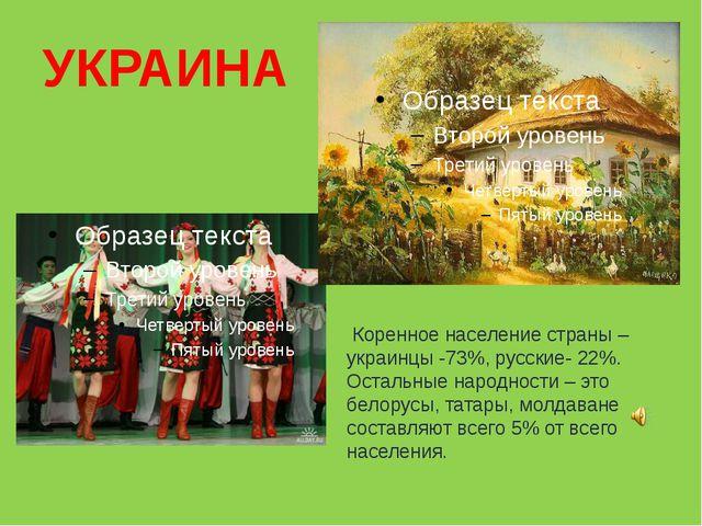 УКРАИНА Коренное население страны – украинцы -73%, русские- 22%. Остальные на...