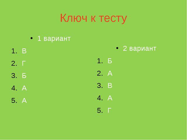 Ключ к тесту 1 вариант В Г Б А А 2 вариант Б А В А Г