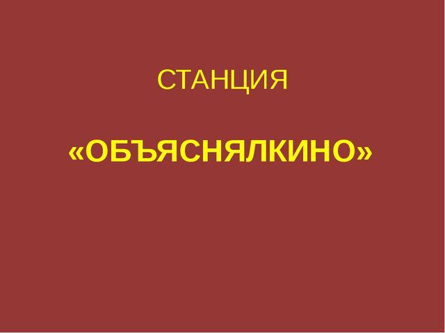 СТАНЦИЯ «ОБЪЯСНЯЛКИНО»