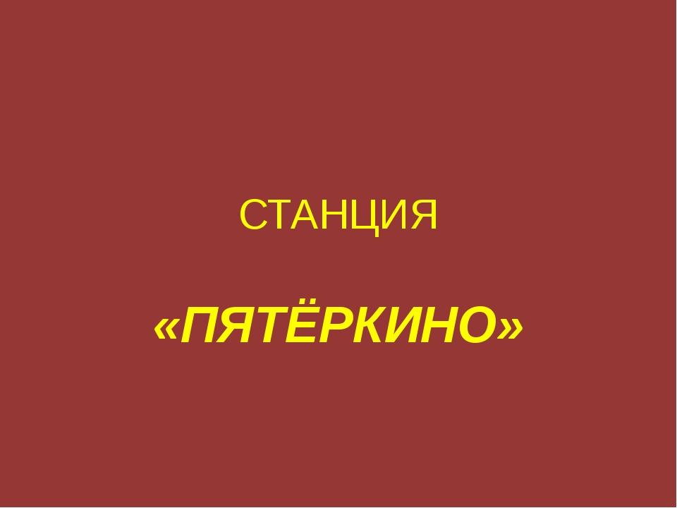 СТАНЦИЯ «ПЯТЁРКИНО»