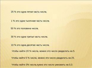 25 % это одна пятая часть числа. 1 % это одна тысячная часть числа. 50 % это