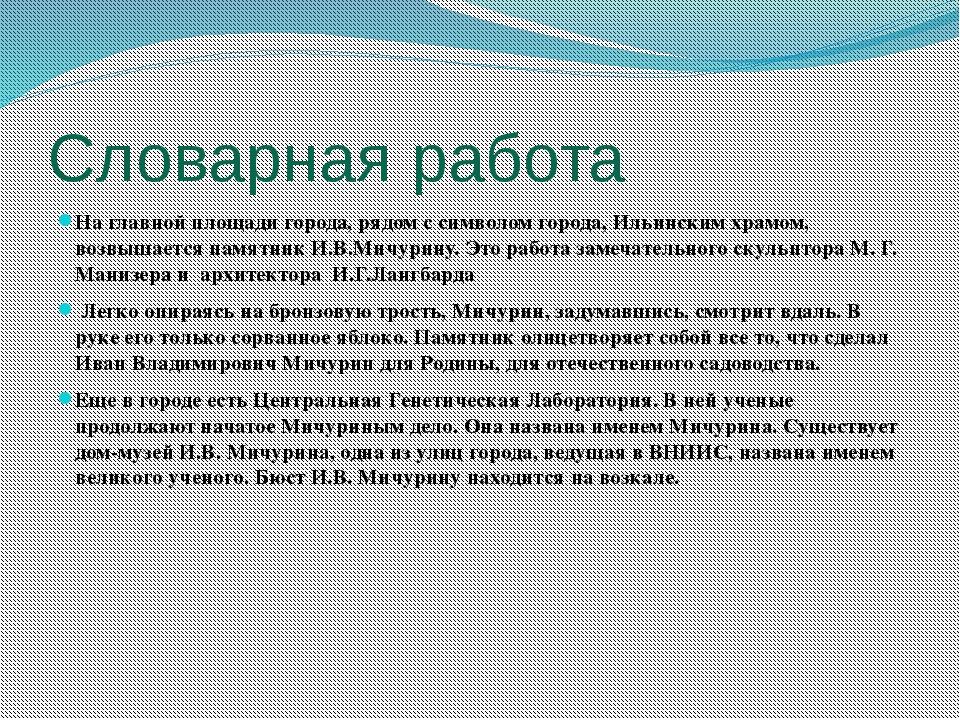 Словарная работа На главной площади города, рядом с символом города, Ильински...